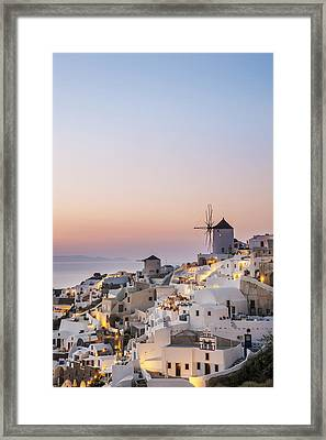 Whitewash Buildings And Windmill Framed Print