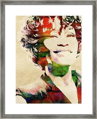 Whitney Houston Framed Print by Mihaela Pater
