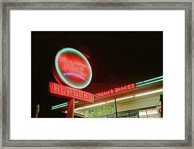 Whiz Burgers Neon, San Francisco Framed Print