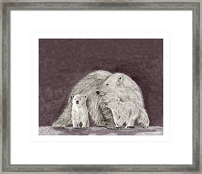 Framed Print featuring the painting Polar Bear Family by Jack Pumphrey