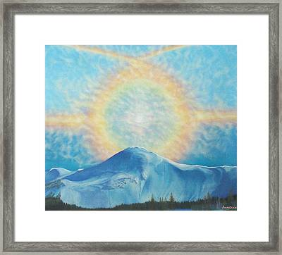 Who Makes The Clouds His Chariot Fire Rainbow Over Alberta Peak Framed Print by Anastasia Savage Ealy