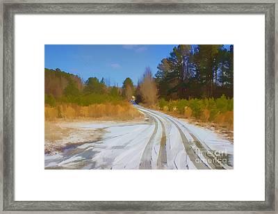 Snow Covered Lane Framed Print
