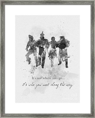 Who You Meet Along The Way Black And White Framed Print