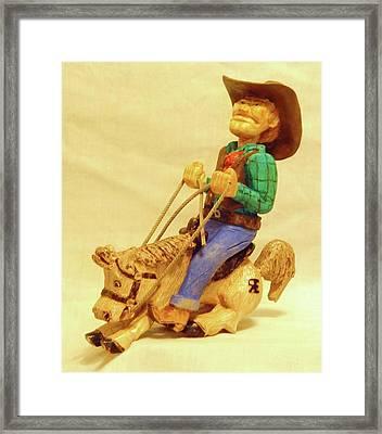 Whoa Horsey Framed Print by Russell Ellingsworth