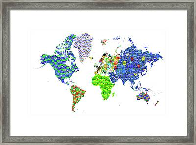 Whole World's Gone Bananas - World Map Sticker Art Framed Print by Rayanda Arts