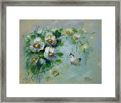 Whte Butterfly And Blossoms Framed Print by David Jansen