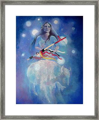 Whtie Buffalo Woman From The Pleiades Framed Print