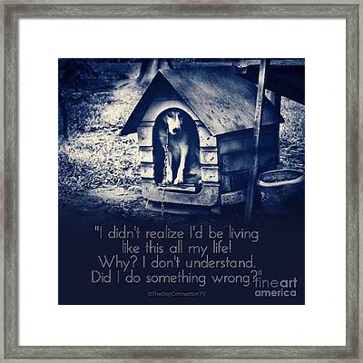 Framed Print featuring the digital art Why Am I Living Like This by Kathy Tarochione