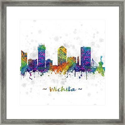 Wichita Kansas Skyline Color 03sq Framed Print
