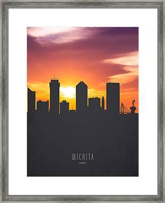 Wichita Kansas Sunset Skyline 01 Framed Print