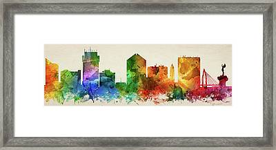 Wichita Skyline Panorama Uskswi-pa03 Framed Print