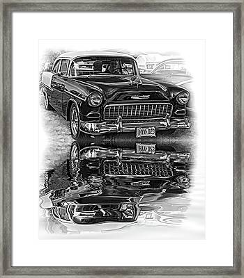 Wicked 1955 Chevy - Reflection Bw Framed Print by Steve Harrington