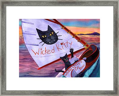 Wicked Kitty's Catboat Framed Print by Catherine G McElroy