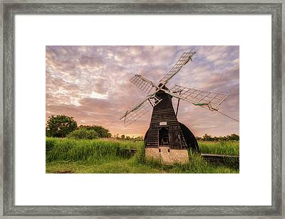 Wicken Wind-pump At Sunset II Framed Print