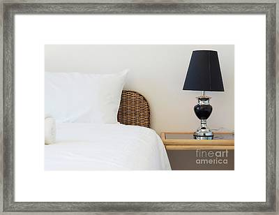Wicker Rattan Bed Framed Print