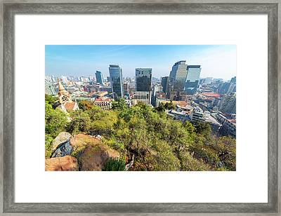 Wide Angle View Of Santiago, Chile Framed Print by Jess Kraft