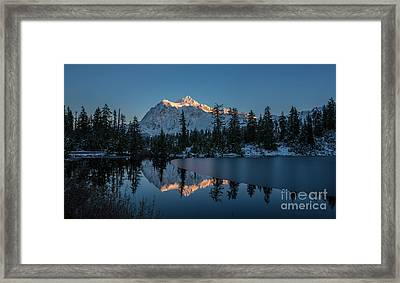 Wide Shuksans Last Light Reflected Framed Print by Mike Reid