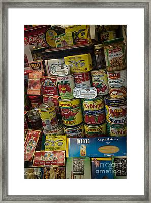 Framed Print featuring the photograph Wide Variety Of Italian Goods On Display In Little Italy by Jason Rosette