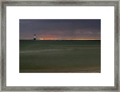 Wide View Of Lighthouse And Sunset Framed Print