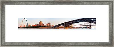 Wide View Of St Louis And Eads Bridge Framed Print
