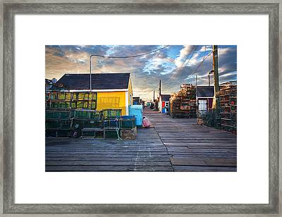 Widgery Wharf Portland Sunrise Framed Print by Eric Gendron