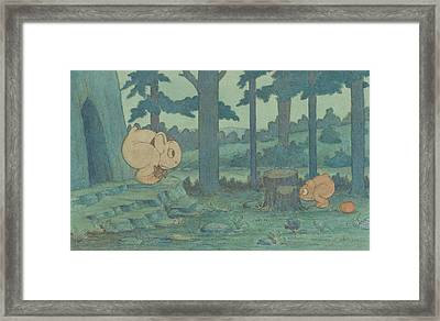 Wiggle Much Baby Hiding From Mama Framed Print by Herbert Crowley