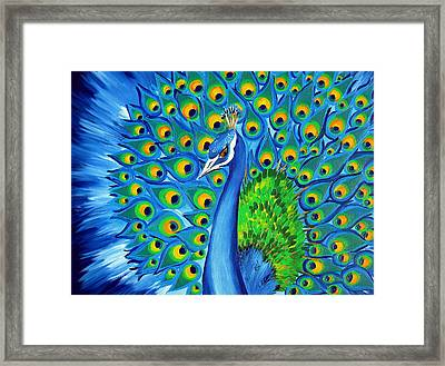 Wild And Free-peacock Framed Print by Cathy Jacobs