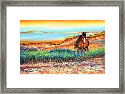 Framed Print featuring the painting Wild And Free Sable Island Horse by Patricia L Davidson