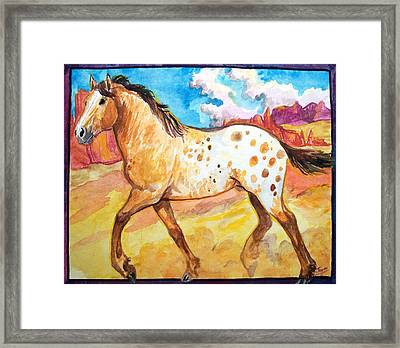 Framed Print featuring the painting Wild Appaloosa Horse by Jenn Cunningham