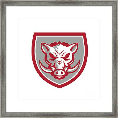 Wild Boar Razorback Head Angry Shield Retro Framed Print by Aloysius Patrimonio