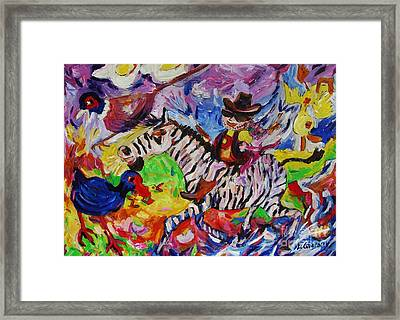 Wild Boy Jimmy On Zeebra Down River Framed Print