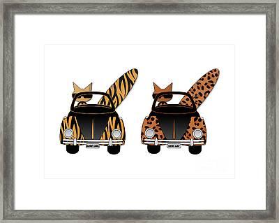 Wild Cats Go Surfing Framed Print