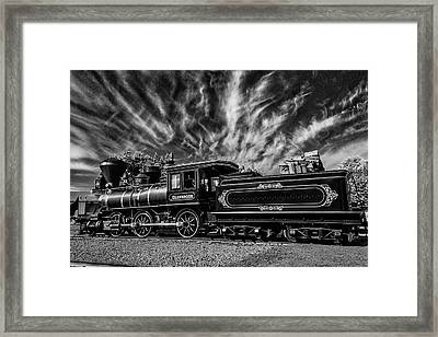 Wild Clouds Over Old Train Framed Print