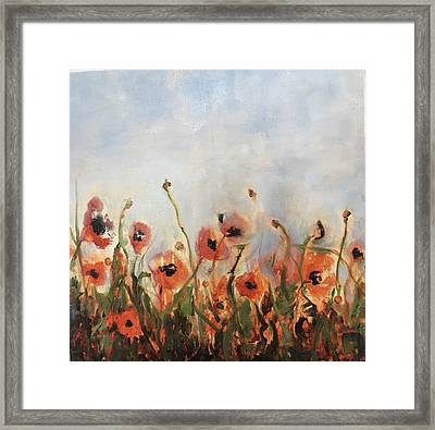 Wild Corn Poppies Underpainting Framed Print