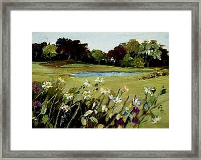 Framed Print featuring the painting Wild Flower Landscape by Diane Ursin