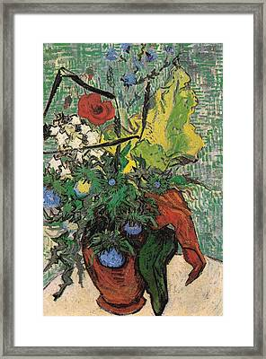Wild Flowers And Thistles In A Vase, 1890 Framed Print by Vincent Van Gogh