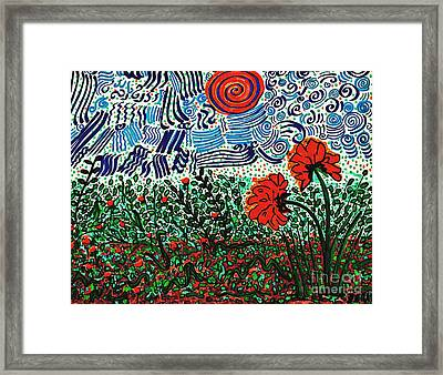 Wild Flowers Under Wild Sky With Floral Texture   Framed Print