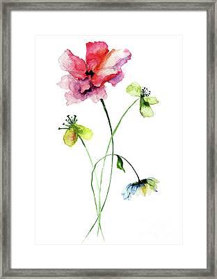 Wild Flowers Watercolor Illustration Framed Print