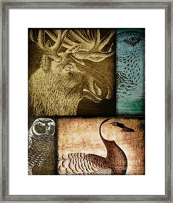 Wild Game Primitive Patchwork Framed Print by Mindy Sommers