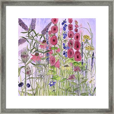 Framed Print featuring the painting Wild Garden Flowers by Laurie Rohner