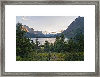 Wild Goose Island Sunset - Glacier National Park Montana Framed Print by Brian Harig