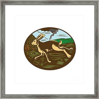 Wild Hare Rabbit Running Oval Woodcut Framed Print by Aloysius Patrimonio