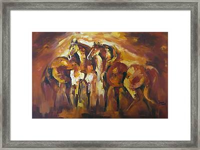 Wild Horse Art Painting Framed Print by Sajida Hussain