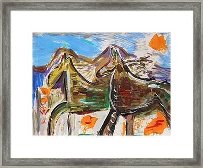Wild Horses From The Hills Framed Print by Mary Carol Williams