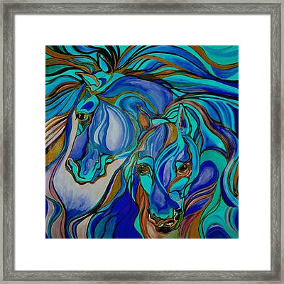 Wild  Horses In Brown And Teal Framed Print