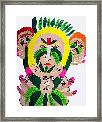 Wild Look Of The Green Plant Lady Framed Print by Betty  Roberts