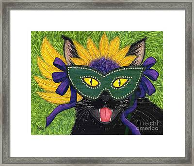 Framed Print featuring the painting Wild Mardi Gras Cat by Carrie Hawks