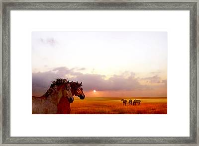 Framed Print featuring the painting Wild Moorland Ponies by Valerie Anne Kelly