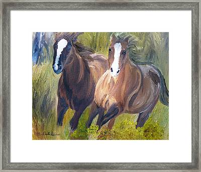 Wild Mustangs Framed Print by Michael Lee
