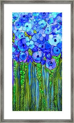 Wild Poppy Garden - Blue Framed Print by Carol Cavalaris